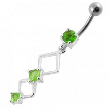 Buy Fancy Jeweled Dangling Curved Bar Navel  Ring Body jewelry PBM1771 online