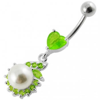 Buy Jeweled Heart Pearl Dangling Navel Ring online
