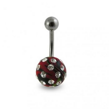 Buy Red Colored Hand Painted Crystal Ball SS Bar Navel Ring online