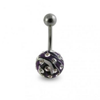 Buy Black And White Hand Painted Crystal Ball SS Curved Navel Ring online