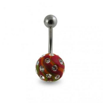 Buy Red Color Hand Painted Crystal Ball SS Navel Ring Body Jewlery online