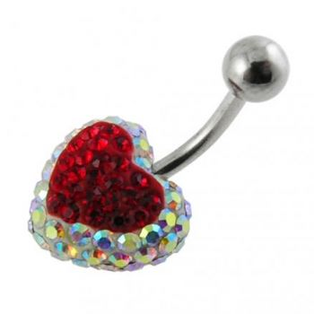 Buy Crystal stone Red Heart Navel Body Jewelry Ring FDBLY335 online
