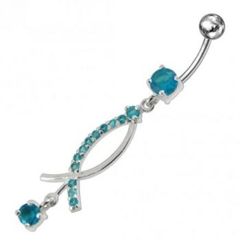 Buy Jeweled Fancy Silver Dangling Surgical Steel banana barbell  Navel Ring online
