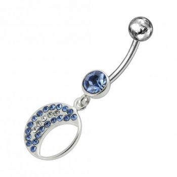Buy Jeweled Fancy Half MOON Silver Dangling Curved Bar Navel Ring online