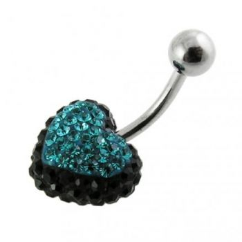 Buy Green And Black Crystal stone Heart WIth SS Banana Bar Navel Ring online