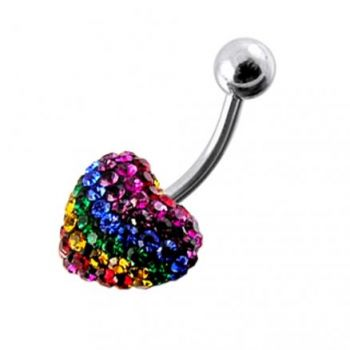 Buy Mix Color Crystal stone Heart Curved Bar Navel Ring Body Jewelry online