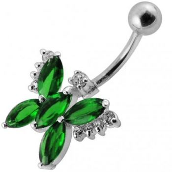 Buy Fancy Beautiful Blue Jeweled Silver BUTTERFLY With SS Bar Navel Belly Ring online