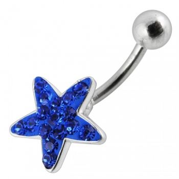 Buy Fancy Green CZ Jeweled Star Silver With SS Bar Navel Belly Ring online