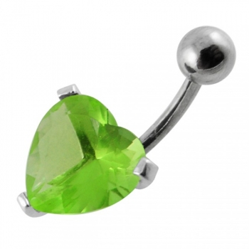 Buy Fancy Multi CZ Jeweled Silver Heart Stone With SS Curved Bar Navel Belly Ring online