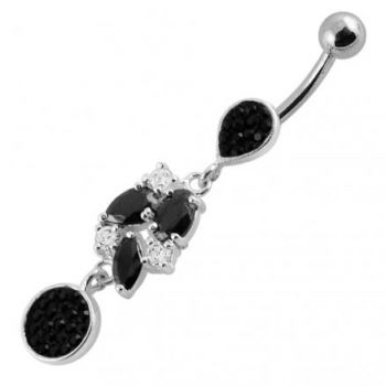 Buy Mix Color Jeweled Fancy Dangling With SS Banana Navel Ring online
