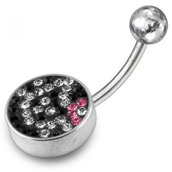 Buy Black And White Crystal stone Jeweled With SS Curved Navel Ring Steel Base online