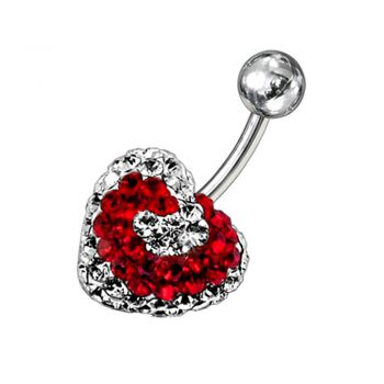 Buy Mix Color Crystal stone Heart Navel Body Jewelry Ring FDBLY282 online