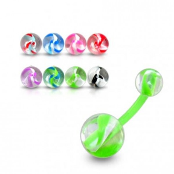 Buy Acrylic UV Curved Bar Navel Ring With Mix Color UV Balls online
